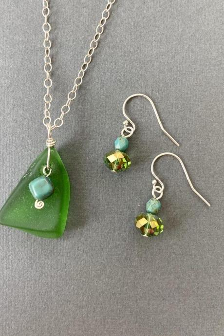 Green Lake Superior Beach Glass Turquoise Sterling Silver Necklace & Earring Set