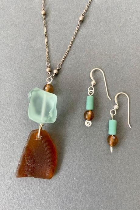 Chocolate Mint Lake Superior Beach Glass Necklace & Earring Set Agate Sea Glass