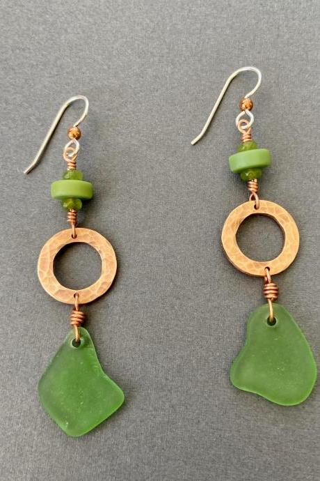 Lake Superior Beach Glass Sea Green Copper Hammered Ring Washer Long Earrings