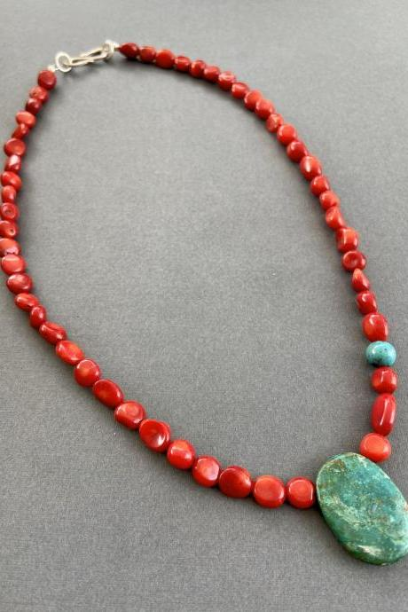 Boho Asymmetrical Natural Turquoise Nuggets Red Coral Arizona Chrysocolla Necklace