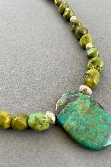 Boho Apple Green Turquoise Nuggets Arizona Chrysocolla Sterling Silver Necklace