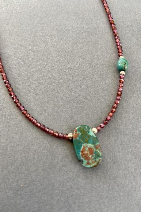 Petite Micro Faceted Garnet Arizona Chrysocolla Turquoise Sterling Necklace Adjustable