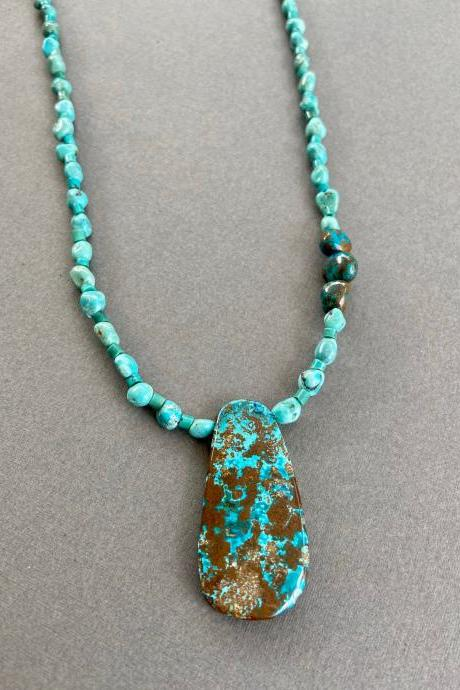 Long Boho Turquoise and Arizona Chrysocolla Necklace Nuggets Sterling Blue