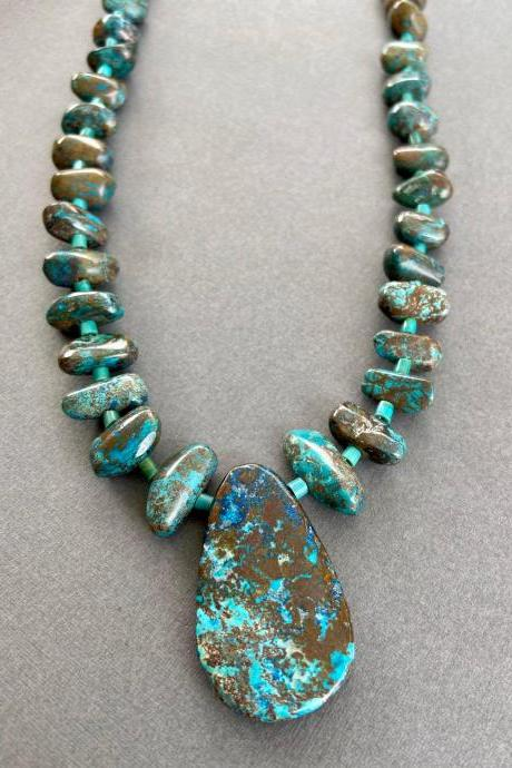 Arizona Chrysocolla Chunky Boho Turquoise Sterling Necklace Statement