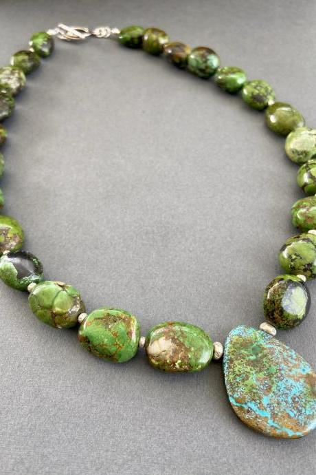 Natural Green Turquoise Arizona Chrysocolla Sterling Silver Chunky Necklace