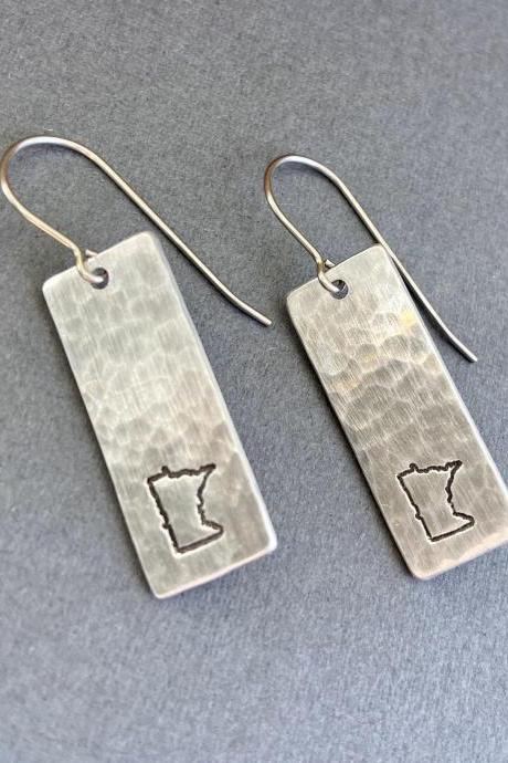 Hammered Minnesota State Pride Earrings Silver Lightweight Midwest Girl Nice Minnesotan Prairie