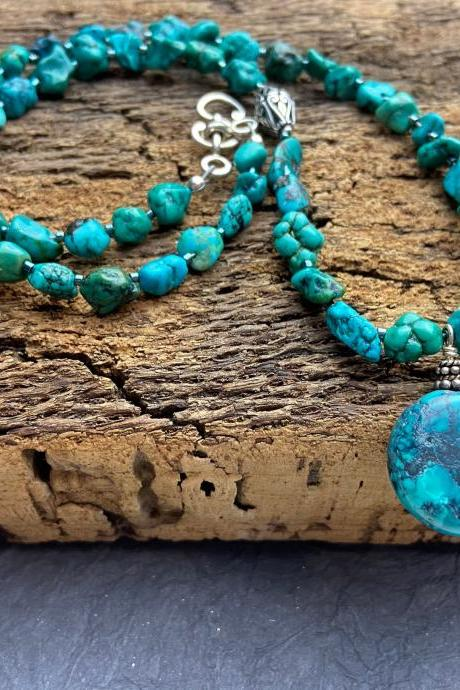 Turquoise Sterling Silver Asymmetrical Nugget Southwest Blue Green Classic Necklace