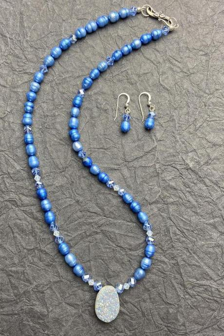 Periwinkle Blue Pearl Sterling Silver Druzy Quartz Swarovski Crystal Necklace Earring Set