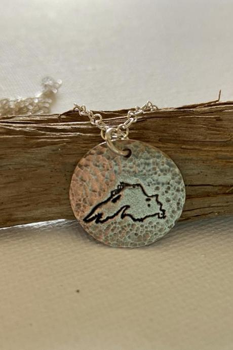 Lake Superior Gitche Gumee Big Lake Hammered Silver Pendant Chain Necklace Great Lakes