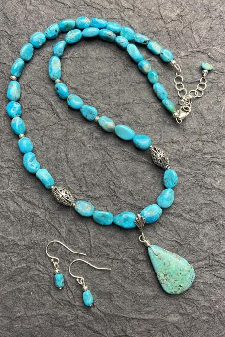 Sleeping Beauty Blue Turquoise Sterling Silver Necklace and Earring Set Arizona USA Mined