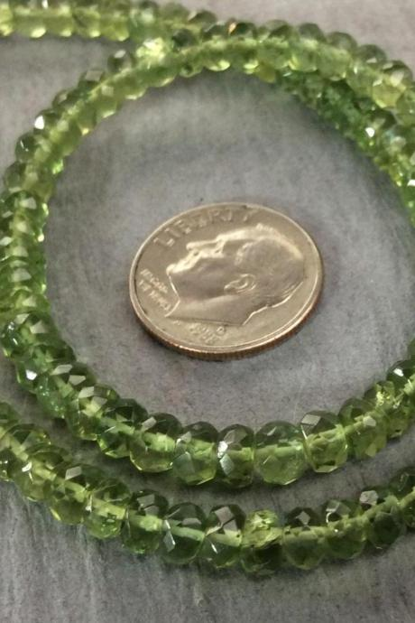 Faceted Natural Green Apatite Rondelle Spacer Bead Strand 3x4mm Sage SALE 50% Off Was 79.99