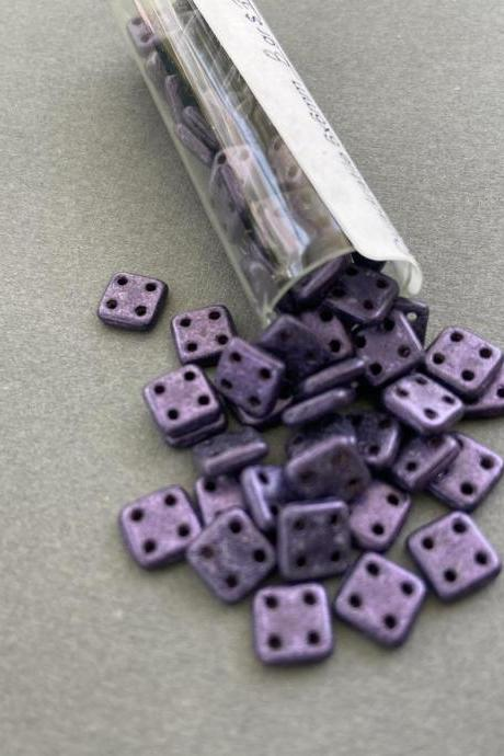 Quadratile 6x6mm Czech Glass Beads Metallic Suede Purple 8 gram tube Royal