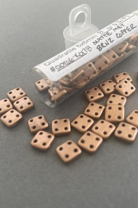 Quadratile 6x6mm Czech Glass Beads Matte Metallic Bronze Copper #k0178 8 gram tube